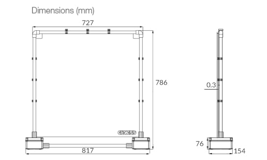counter screen dimensions